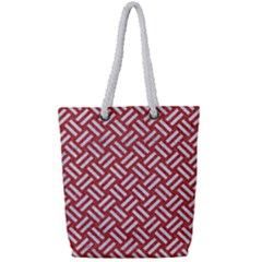 Woven2 White Marble & Red Denim Full Print Rope Handle Tote (small) by trendistuff