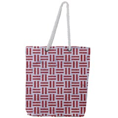 Woven1 White Marble & Red Denim (r) Full Print Rope Handle Tote (large) by trendistuff