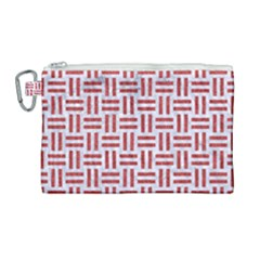 Woven1 White Marble & Red Denim (r) Canvas Cosmetic Bag (large) by trendistuff