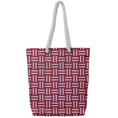 Woven1 White Marble & Red Denim Full Print Rope Handle Tote (small) by trendistuff