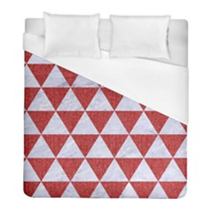 Triangle3 White Marble & Red Denim Duvet Cover (full/ Double Size) by trendistuff