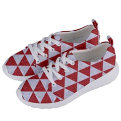 Triangle3 White Marble & Red Denim Women s Lightweight Sports Shoes by trendistuff