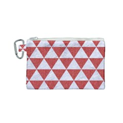 Triangle3 White Marble & Red Denim Canvas Cosmetic Bag (small) by trendistuff