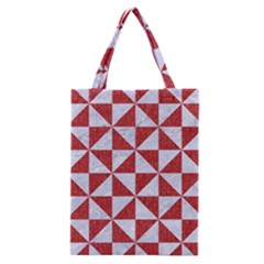 Triangle1 White Marble & Red Denim Classic Tote Bag by trendistuff