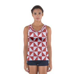Triangle1 White Marble & Red Denim Sport Tank Top  by trendistuff