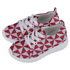 Triangle1 White Marble & Red Denim Kids  Lightweight Sports Shoes by trendistuff