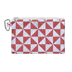 Triangle1 White Marble & Red Denim Canvas Cosmetic Bag (large)