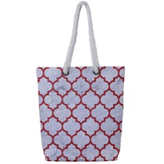 Tile1 White Marble & Red Denim (r) Full Print Rope Handle Tote (small) by trendistuff