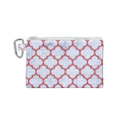Tile1 White Marble & Red Denim (r) Canvas Cosmetic Bag (small) by trendistuff