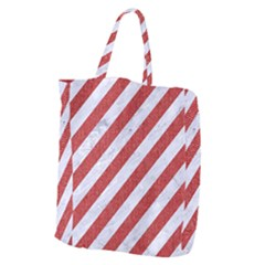 Stripes3 White Marble & Red Denim (r) Giant Grocery Zipper Tote by trendistuff