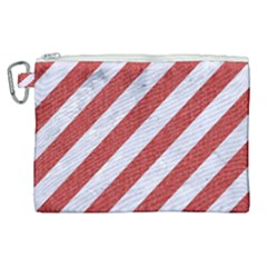 Stripes3 White Marble & Red Denim (r) Canvas Cosmetic Bag (xl) by trendistuff