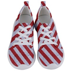 Stripes3 White Marble & Red Denim Women s Lightweight Sports Shoes