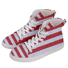 Stripes2white Marble & Red Denim Women s Hi Top Skate Sneakers by trendistuff