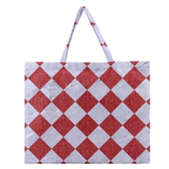 Square2 White Marble & Red Denim Zipper Large Tote Bag by trendistuff