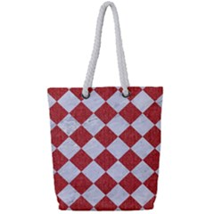 Square2 White Marble & Red Denim Full Print Rope Handle Tote (small) by trendistuff