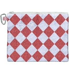 Square2 White Marble & Red Denim Canvas Cosmetic Bag (xxxl) by trendistuff
