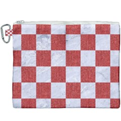 Square1 White Marble & Red Denim Canvas Cosmetic Bag (xxxl) by trendistuff