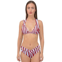 Skin4 White Marble & Red Denim (r) Double Strap Halter Bikini Set