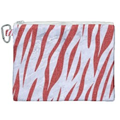 Skin3 White Marble & Red Denim (r) Canvas Cosmetic Bag (xxl) by trendistuff