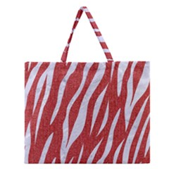 Skin3 White Marble & Red Denim Zipper Large Tote Bag by trendistuff
