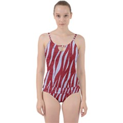 Skin3 White Marble & Red Denim Cut Out Top Tankini Set by trendistuff
