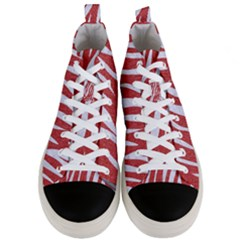 Skin3 White Marble & Red Denim Men s Mid Top Canvas Sneakers