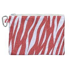 Skin3 White Marble & Red Denim Canvas Cosmetic Bag (xl) by trendistuff