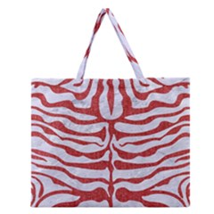 Skin2 White Marble & Red Denim (r) Zipper Large Tote Bag by trendistuff