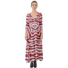 Skin2 White Marble & Red Denim (r) Button Up Boho Maxi Dress