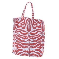 Skin2 White Marble & Red Denim Giant Grocery Zipper Tote by trendistuff