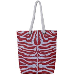 Skin2 White Marble & Red Denim Full Print Rope Handle Tote (small) by trendistuff