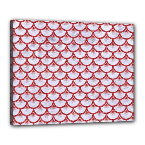 Scales3 White Marble & Red Denim (r) Canvas 20  X 16  by trendistuff