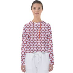 Scales3 White Marble & Red Denim (r) Women s Slouchy Sweat
