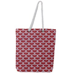 Scales3 White Marble & Red Denim Full Print Rope Handle Tote (large) by trendistuff