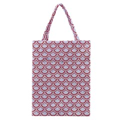 Scales2 White Marble & Red Denim (r) Classic Tote Bag by trendistuff
