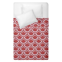 Scales2 White Marble & Red Denim Duvet Cover Double Side (single Size) by trendistuff