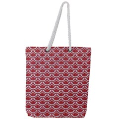 Scales2 White Marble & Red Denim Full Print Rope Handle Tote (large) by trendistuff