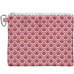 Scales2 White Marble & Red Denim Canvas Cosmetic Bag (xxxl) by trendistuff