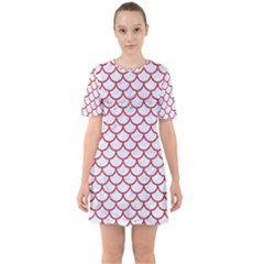 Scales1 White Marble & Red Denim (r) Sixties Short Sleeve Mini Dress