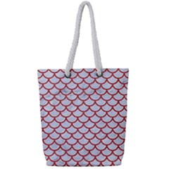 Scales1 White Marble & Red Denim (r) Full Print Rope Handle Tote (small) by trendistuff