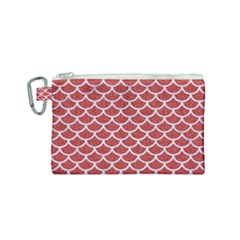 Scales1 White Marble & Red Denim Canvas Cosmetic Bag (small) by trendistuff