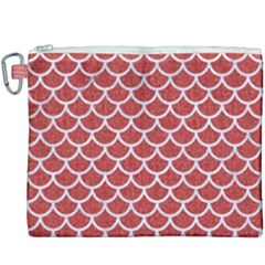 Scales1 White Marble & Red Denim Canvas Cosmetic Bag (xxxl) by trendistuff