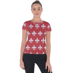 Royal1 White Marble & Red Denim (r) Short Sleeve Sports Top