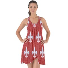 Royal1 White Marble & Red Denim (r) Show Some Back Chiffon Dress by trendistuff