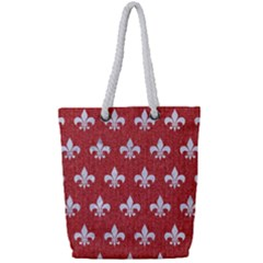Royal1 White Marble & Red Denim (r) Full Print Rope Handle Tote (small) by trendistuff