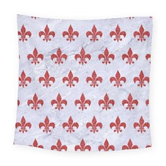 Royal1 White Marble & Red Denim Square Tapestry (large)