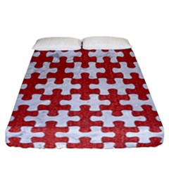 Puzzle1 White Marble & Red Denim Fitted Sheet (california King Size) by trendistuff