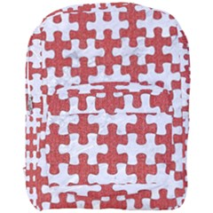 Puzzle1 White Marble & Red Denim Full Print Backpack by trendistuff