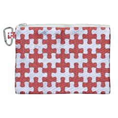 Puzzle1 White Marble & Red Denim Canvas Cosmetic Bag (xl) by trendistuff