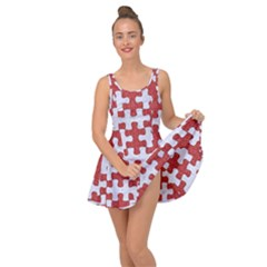 Puzzle1 White Marble & Red Denim Inside Out Dress